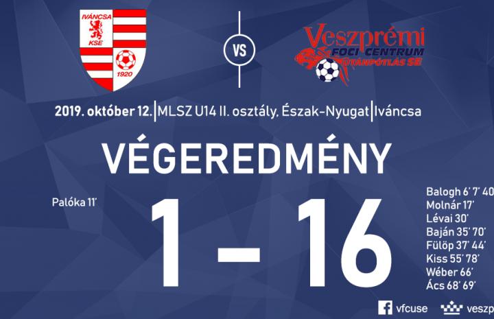 Fölényes győzelmet aratott Iváncsán az U14-es csapat